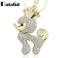 Wholesale crown keyrings - beijia Crown Poodle Dog Crystal Key Ring Chains Holder Bag Buckle Pendant For Car Keyrings KeyChains K308