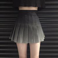 korecek alin etek etekleri toptan satış-Retro Pileli Mezun Baskılı Ekose Koleji Yüksek Bel Etek kadın Etekler Bayanlar Kawaii Kadın Kore Harajuku Giyim Için
