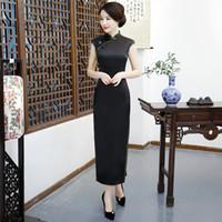 siyah qipao cheongsam toptan satış-Shanghai Hikaye Uzun Qipao Çin Elbise Seksi Geri Siyah Katı Cheongsam Çince Geleneksel elbise Çinli kadının Giyim