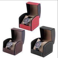 packungsarmbänder großhandel-Single Grid Leder Watch Vitrine Veranstalter Geschenk Box Schmuck Aufbewahrungsbox Verpackung Für Armreif Handgelenk Armband OOA4609