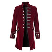 gleichmäßig kühl großhandel-Vintage Steampunk Männer Mantel Cool Gothic Frack Lange Jacke Mode Retro Button Trenchcoats Männlich Outwear Patry Uniform Kostüm
