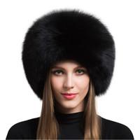 ingrosso vendita delle cuffie-2018 vendita calda 100% naturale cappello di pelliccia di volpe donne berretto di pelliccia spessa berretto invernale cappello caldo moda femminile per le donne con paraorecchie W