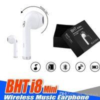caja de micrófono para auriculares iphone al por mayor-BHT I8 mini Auricular inalámbrico In-Ear Auriculares Bluetooth Invisible Earbud auriculares auriculares con micrófono para iPhone X Con la caja al por menor
