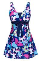 papillons bleu marine achat en gros de-Robe de maillot de bain une pièce coupe slim papillon pour femme Maillot de bain bleu marine 5XL