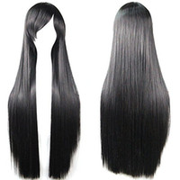 Wholesale anime long wigs for sale - Long Straight Anime Cosplay Wigs cm Black suitable to female