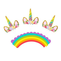 Wholesale cake supplies online - Kids Loved Rainbow Unicorn Cupcake Cake Wrappers set Toppers Baby Shower Kids Children Birthday Party Decorative Supplies