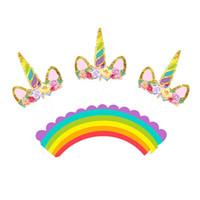 fuentes de la fiesta de cumpleaños de la magdalena al por mayor-Niños amados Rainbow Unicorn Cupcake Cake Wrappers 24 unids / set Toppers Baby Shower Niños Fiesta de cumpleaños de los niños Suministros decorativos
