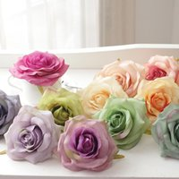 Wholesale painting wall orange - 20PCS lot Artificial Oil Painting Rose Head Silk Flowers Wedding Decration Real Touch Fake Flores Home Mariage Party DIY Flower Wall Arch