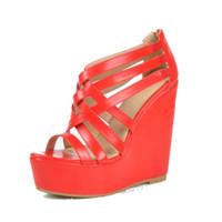 ingrosso nightclub scarpe rosse-più recente piattaforma sandali scarpe rosse donne strette zeppe di marca scarpe tacchi gladiatore discoteca scarpe tacchi alti sandalia mujer