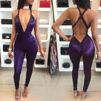 Wholesale sexy club jumpers - Women Deep V Neck Rompers Sexy Solid Night Club Stretchy Jumpers High Waist Skinny Bodycon Tracksuit