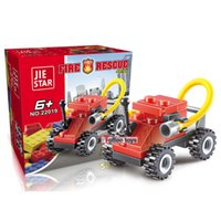 Wholesale Fire Training - Fire Fighting Car Puzzle Building Blocks Children Developmental Toy Plastic Plug Assembly Toys Training Hands On Ability 1 15mc W