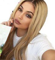 pelucas de encaje completo rubia europea al por mayor-Premium Glueless Ombre Blonde Full Lace Pelucas de cabello humano con raíces oscuras 130% Densidad Soft European Hair Front Pelucas de encaje con cabello de bebé