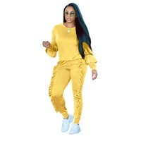034e6a20c9d plus size party outfits Canada - Plus size Two Piece Ruffles Jumpsuits Women  Rompers Long Sleeve