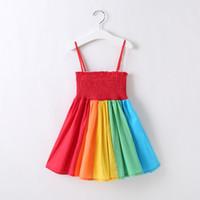 Wholesale wholesale kids bra - Baby Girls Rainbow Dresses Vertical Rainbow Short Beach Knee-Length Dress A-line Elastic Bra Suspender Summer Cotton Kids Skirts 18M-7T