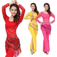 ingrosso belly dance costume dress-Costumi di danza orientale Set spettacoli teatrali Dress Orientale Costume di danza del ventre Set per le donne Costumi orientali 3PCS / SET