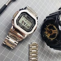 Wholesale g bracelet watches resale online - Luxury New Shock Watch AAA G Style Wristwatch reloj Square Dial Military LED Display Bracelet Clock for Man with Stainless Steel Strap