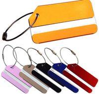 ремешок для багажа оптовых-Алюминиевый сплав багажные бирки чемодан дорожная сумка этикетки держатель имя карты ремни чемодан имя Пэт Теги DDA116