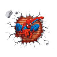 vingadores pôsteres venda por atacado-Diy dos desenhos animados spiderman decalques de parede pvc eco cartazes os vingadores adesivos de parede crianças quarto parede decoração