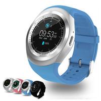 u1 умные часы оптовых-U1 Y1 смарт-часы 1.54 дюймов IPS круглый сенсорный экран водонепроницаемые Smartwatch телефон с SIM-карты слот смарт-часы для IOS Android