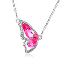 корейское ожерелье бабочки оптовых-2018New S925 корейский танцы бабочка кулон Кристалл кулон ожерелья бутики внешней торговли источники женщин ювелирные изделия Yz2198