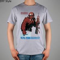 Wholesale print poster design - PROPAGANDA DPRK North Korea Posters T-shirt Top Lycra Cotton Men T shirt New Design High Quality Digital Inkjet Printing