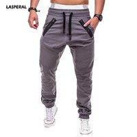xxl schwarze haremhose großhandel-LASPERAL 2018 Running Joggers Jogginghose Plissee Men Elastic Drawstring Pants Füße Black Trousers Fitness Harem Pants Cosy