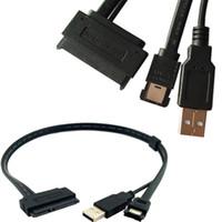 convertidor adaptador para disco duro al por mayor-2.5''Hard Disk Drive SATA 22Pin a eSATA Data USB Powered Cable Adapter Converter 0.5M