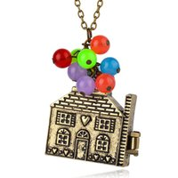 Wholesale bronze red heart necklace - cute cartoon movie antique bronze house shaped kids children's jewelry colorful beads necklace