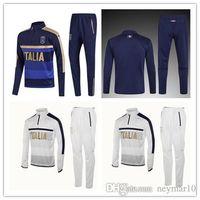 Wholesale Football Training Pants Tight - 2017 2018 Survetement football Italy tracksuit italia training suit kits Soccer Chandal italian training shinny tight pants sweater shirt