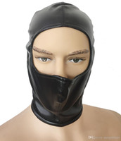 Wholesale half mask sex online - Kinky Head Bondage Half Face Open Gimp Hood Soft Leather Back Zip Mask Fetish Head Harness Cosplay Costume sex toys