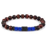 голубой тигр глаз бисер оптовых-Gunblack Tube Pave Black CZ Charm Flat Chunky Royal Blue Aryclic  Spacer Red Tiger Eye Stone Bead Bracelet For Man Women