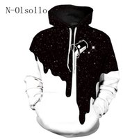 Wholesale Hot Women Milk - N-olsollo Hot Sales Black White Men Women Sweatshirts Print Spilled Milk Space Galaxy Hooded Hoodies Thin Unisex Pullovers Tops