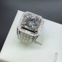 Wholesale gemstone ring for sale - mens ring hip hop jewelry Zircon iced out rings luxury Sterling Silve Full Gemstones Men Wedding Band Ring fashion Jewelry