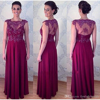 Wholesale Mae Noiva - Grape Sheer Mother Of The Bride Dresses Floor Length 2017 Women Groom Evening Party Gowns Vestido Para Mae Da Noiva