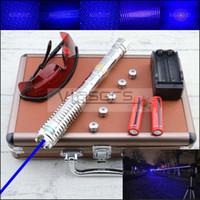 ingrosso puntatore laser a raggi blu-Pacchetto regalo esterno Super alta potenza 10 miglia di messa a fuoco regolabile Penna puntatore laser blu Militare Visibile Beam Laser Torcia