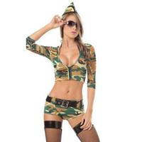 uniformes del ejército al por mayor-Sexy Camuflaje Mujer Teddies Jumpsuits Army Soldier Costume Catsuit CS Uniforme Juego Cosplay Body