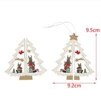 Wholesale popular christmas ornaments - 6PCS set Popular 3D Xmas Tree Pendants Hanging Wooden Christmas Decorations New Colorful Home Party Decor Xmas Tree Decor