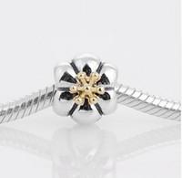 pandora amarilla encantos al por mayor-Plata de ley 925 con perla del encanto del tornillo de Pistil de la flor del oro amarillo claro, conveniente para la fabricación europea de la pulsera de Pandora DIY