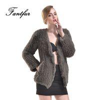 Wholesale Knitted Rabbit Fur Coat Black - FANTFUR 2017 New Knitted Faux Rex Rabbit Fur Coat For Women Fake Rabbit Fur V-Neck Jacket Winter Fashion Style Outwear