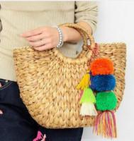 Wholesale straw bags new - 2018 New Beach Bag Straw Totes Bag Bucket Summer Bags with Tassels Pom Pom Pompon Women Natural Basket Handbag leisure bag