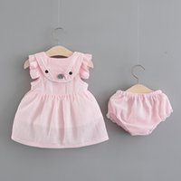 ingrosso biancheria intima formale-Baby Girls Dress Infant Party Dress for Toddler Girls Brithday Battesimo Vestiti Double Formal Tutu Dresses + Underwear Clothes Set