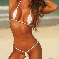 exotische sexy spandex großhandel-Exotische Teardrop Mini Micro Bikinis Set Frauen Brasilianische Extreme Sexy Badeanzug Bademode Strand Badeanzug Biquini Top + G String Thongs