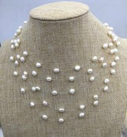 Wholesale handmade floats resale online - 6 mm Floating Necklace Illusion Multistrands Genuine Freshwater Pearl Necklace Handmade Pearl Jewellery