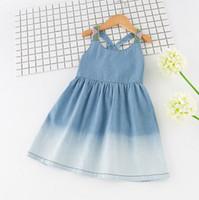Wholesale Cotton Denim Girls Dress - Vieeolove Girls Denim Dress Kids Clothing 2018 Summer Cotton Print Dress Fahion Sleeveless Vest Bow Princess Dress VL-268