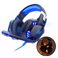 écouteurs basse led achat en gros de-EACH G2000 Gaming Casques Ordinateur Stéréo Sur-Oreille Basse Profonde Jeu Écouteurs Casque Bandeau Écouteurs avec Micro LED Lumière pour PC LOL Gamer