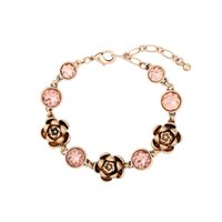 pink channel 2018 - whole saleNew Fashion vintage style anti-gold alloy rose with pink crystal rhinestone gift charm Bracelet for woman Bijoux