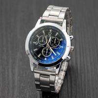 montres cool achat en gros de-Relogio masculino Luxe Mode En Acier Inoxydable Sport Hommes Blue Ray Verre Quartz Montres Casual Cool Montre Marque Hommes Montres
