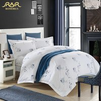Wholesale Hotel Quality Duvets - ROMORUS White Hotel Duvet Cover Set Top Quality 4pcs Cotton Stan Hotel Bedding Set King Queen Size with Pillows Free Shipping