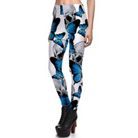 ingrosso matite a farfalla-New Sexy Girl Women Leggings Plus Size Femme Matita Pant Halloween Skull Blue Butterfly Stampa Slim Elastic Fitness Leggings 3973
