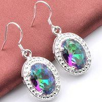 Wholesale sterling silver mystic topaz earrings - Fashion Best Seller 925 sterling silver Plated Fire Multi-Colored Mystic Topaz earrings eardrop earbob women fashionable Jewelry E033